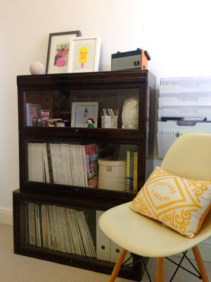 Globe Wernick Bookcase; Eiffel chair; Home office; cushion; custard cream; vintage; yellow