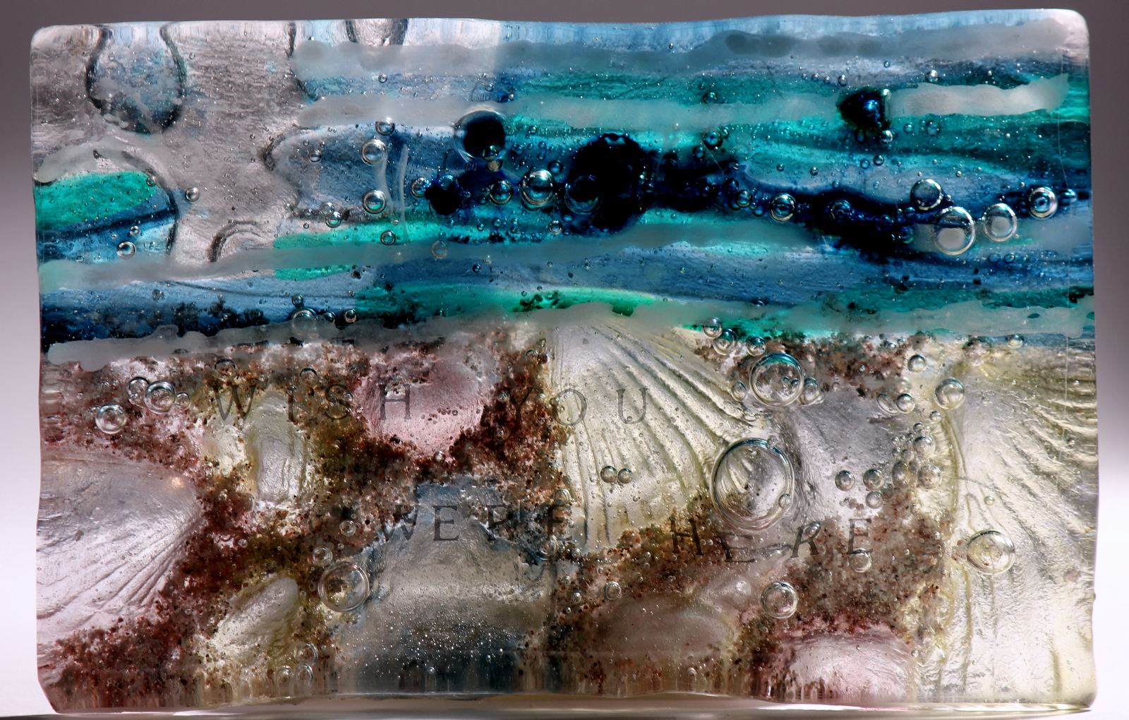 Glass postcard