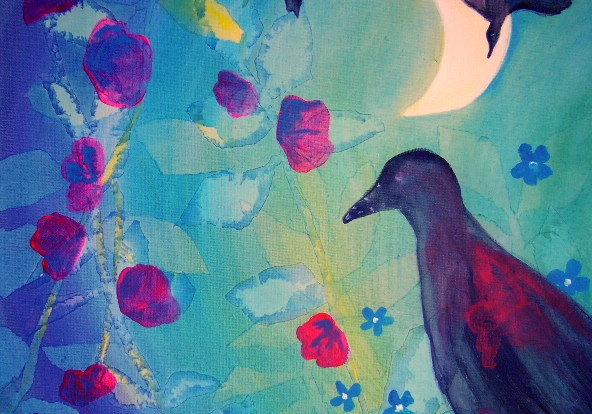 Watercolor Painting Moon and Bird Bridget Webber