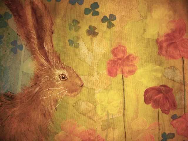 Watercolor Painting Hare and Poppies Bridget Webber