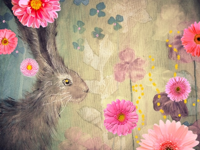 Painting Hare and Flowers Bridget Webber
