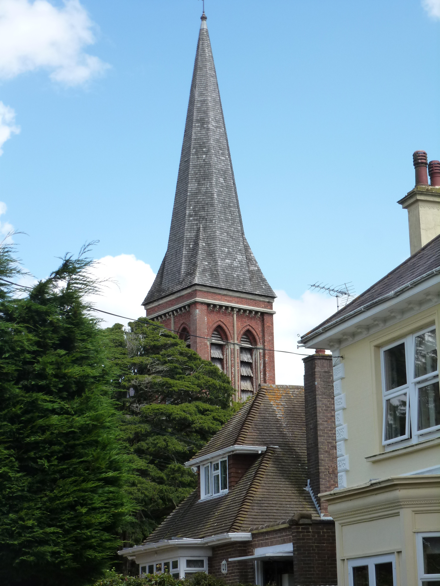 View of newly re-tiled spire