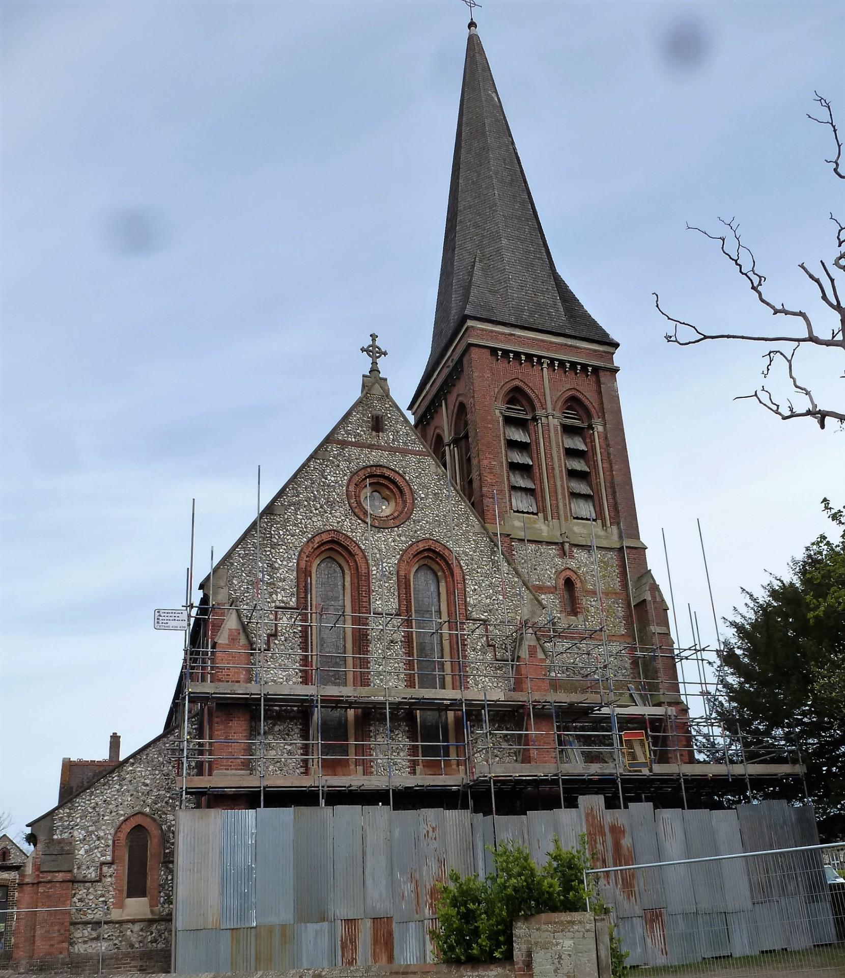 St. Botolph's, Heene, scaffolding, 29.4.16