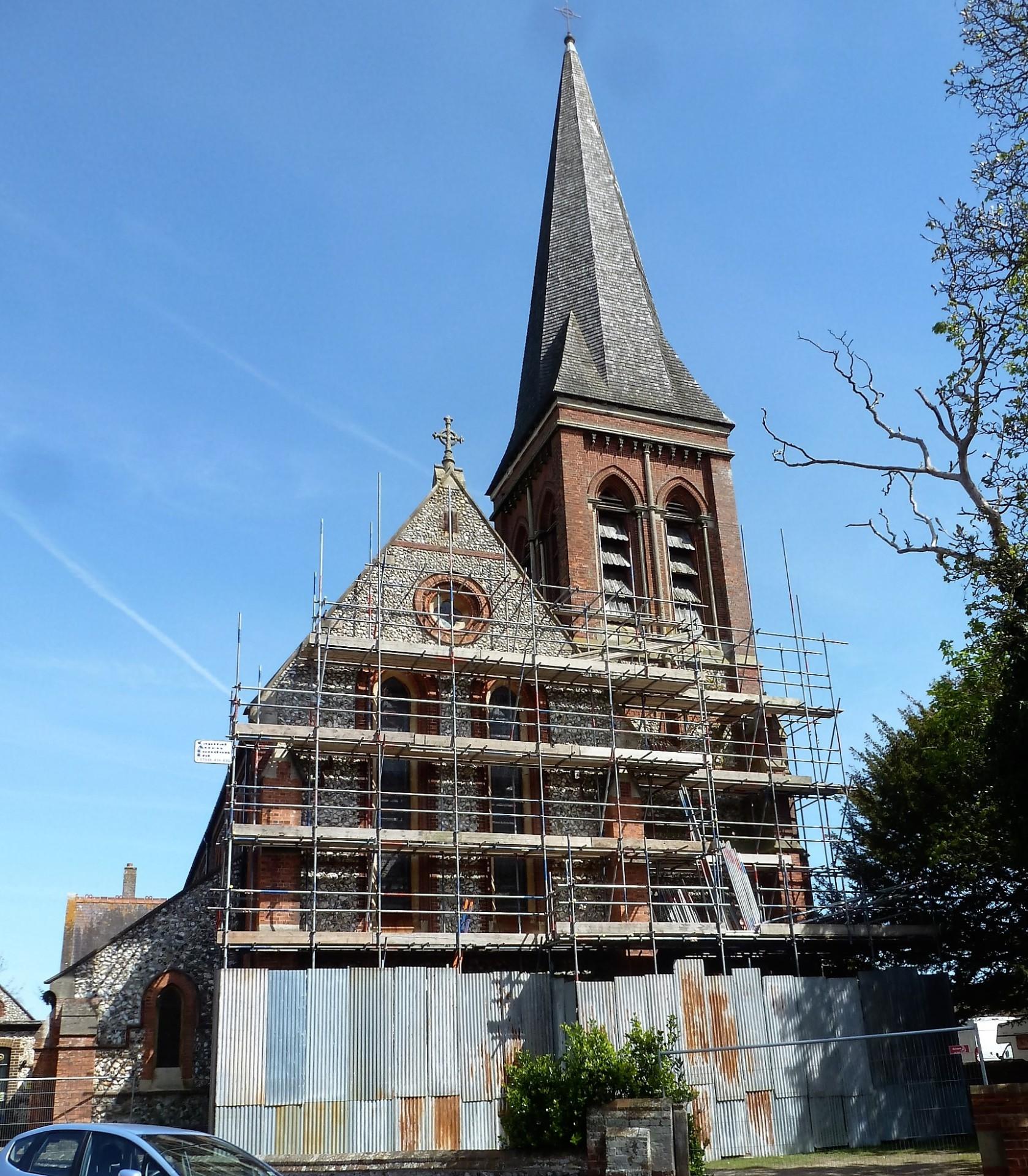 St. Botolph's, Heene, Scaffolding rising, 4.5.16