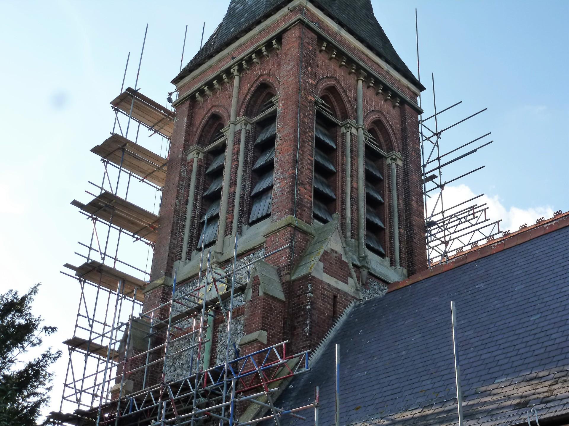 St. Botolph's, Heene, scaffolding 16.5.16
