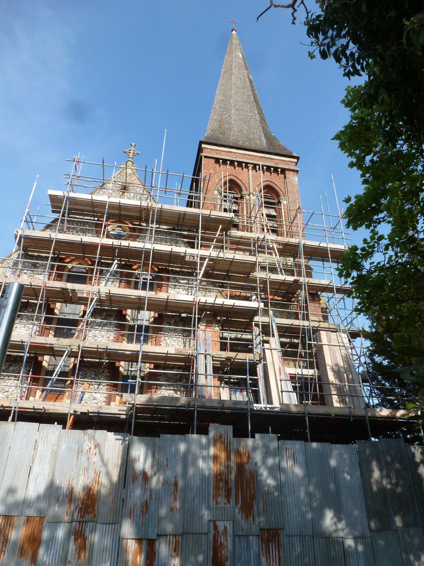 St. Botolph's, Heene, scaffolding 12.5.16