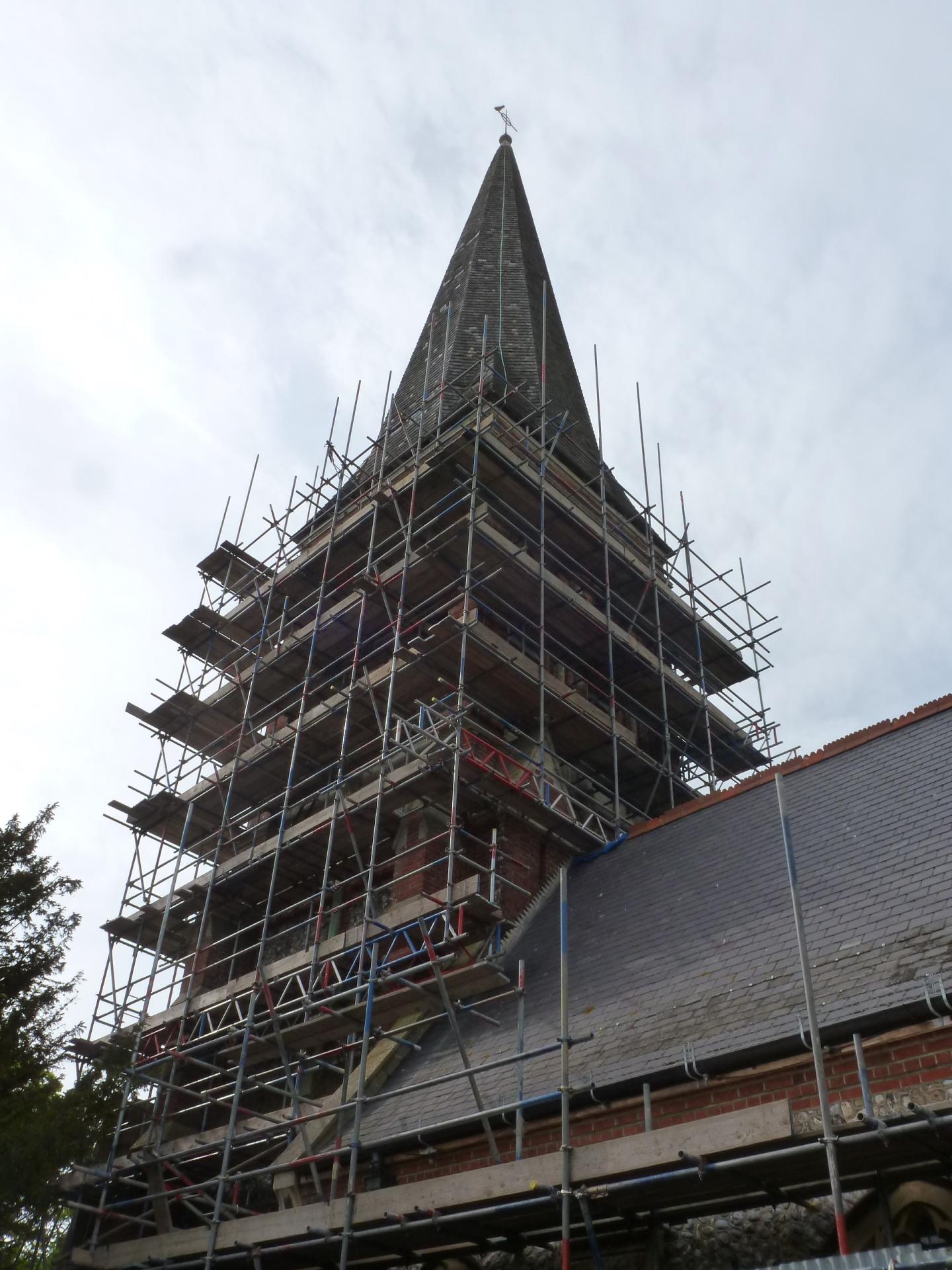 St. Botolph's, Heene, scaffolding, 19.6.16