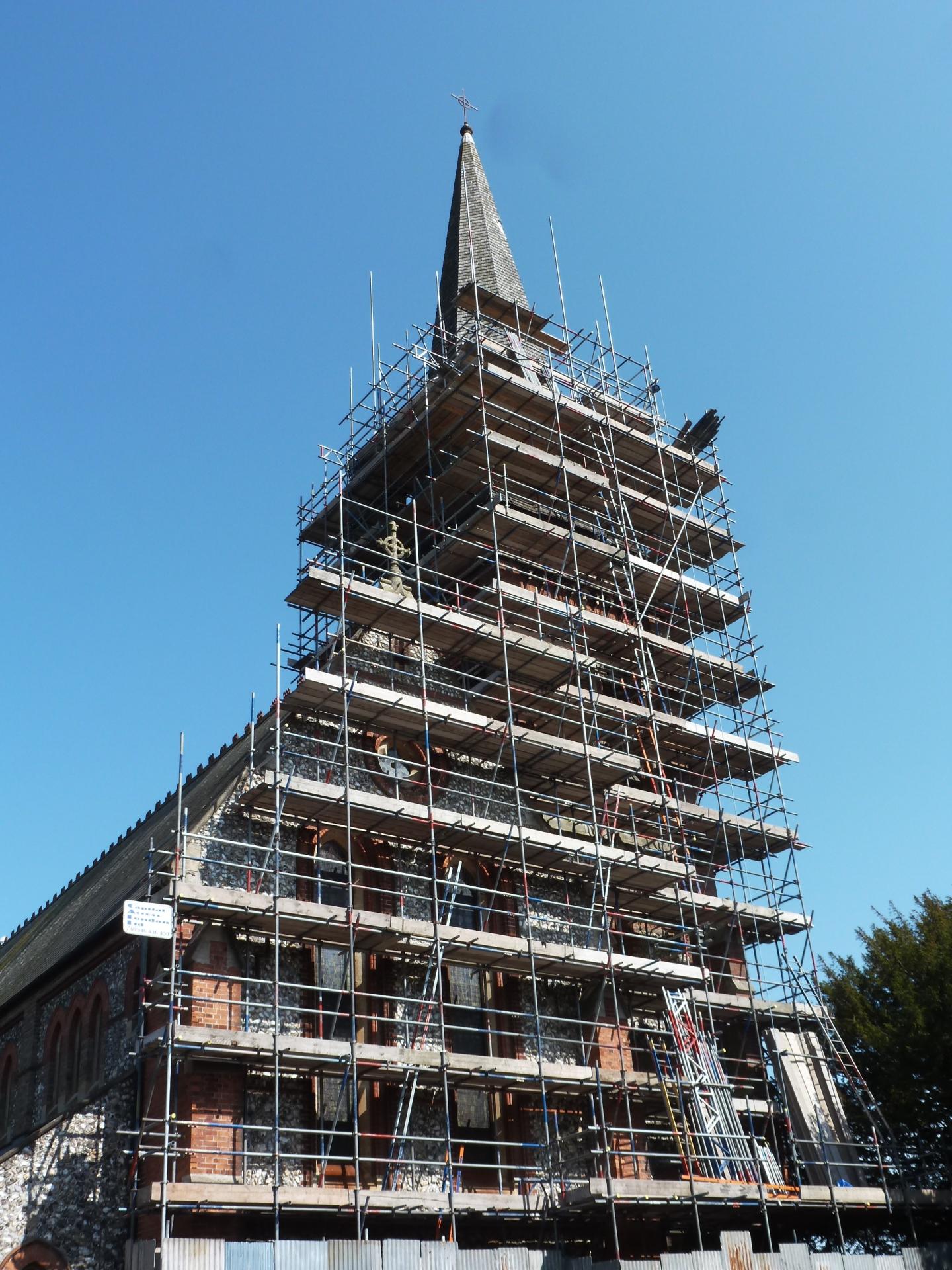 St. Botolph's, Heene, scaffolding, 26.5.16