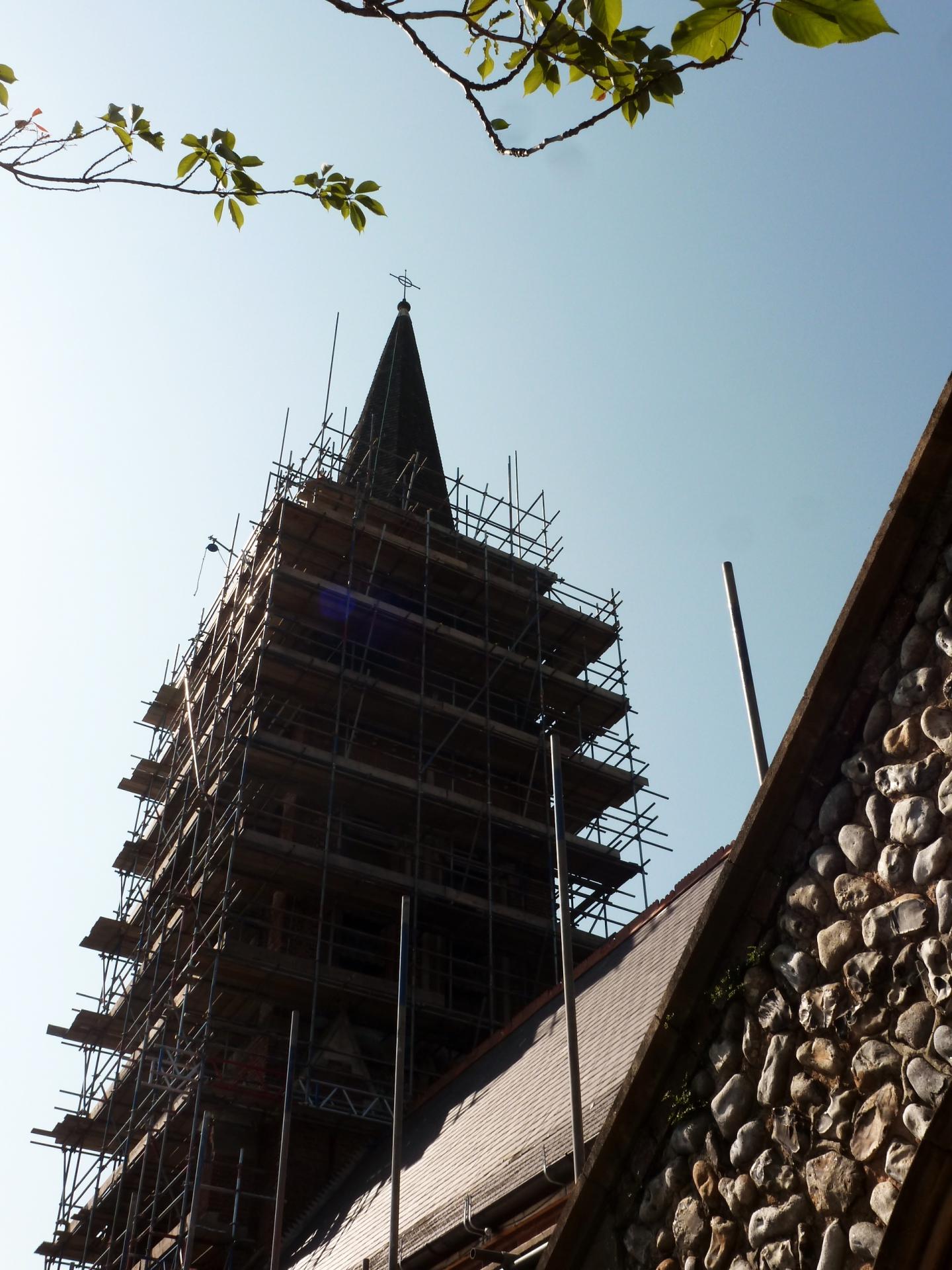 St. Botolph's, Heene scaffolding 26.5.16
