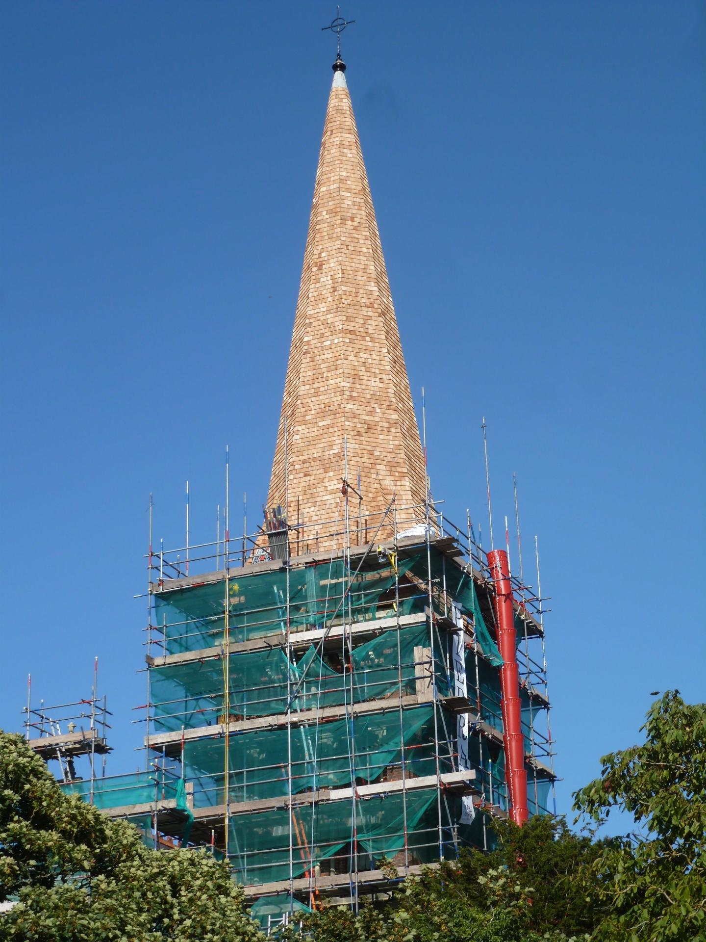 St. Botolph's, Heene, reshingled spire, 7.8.16