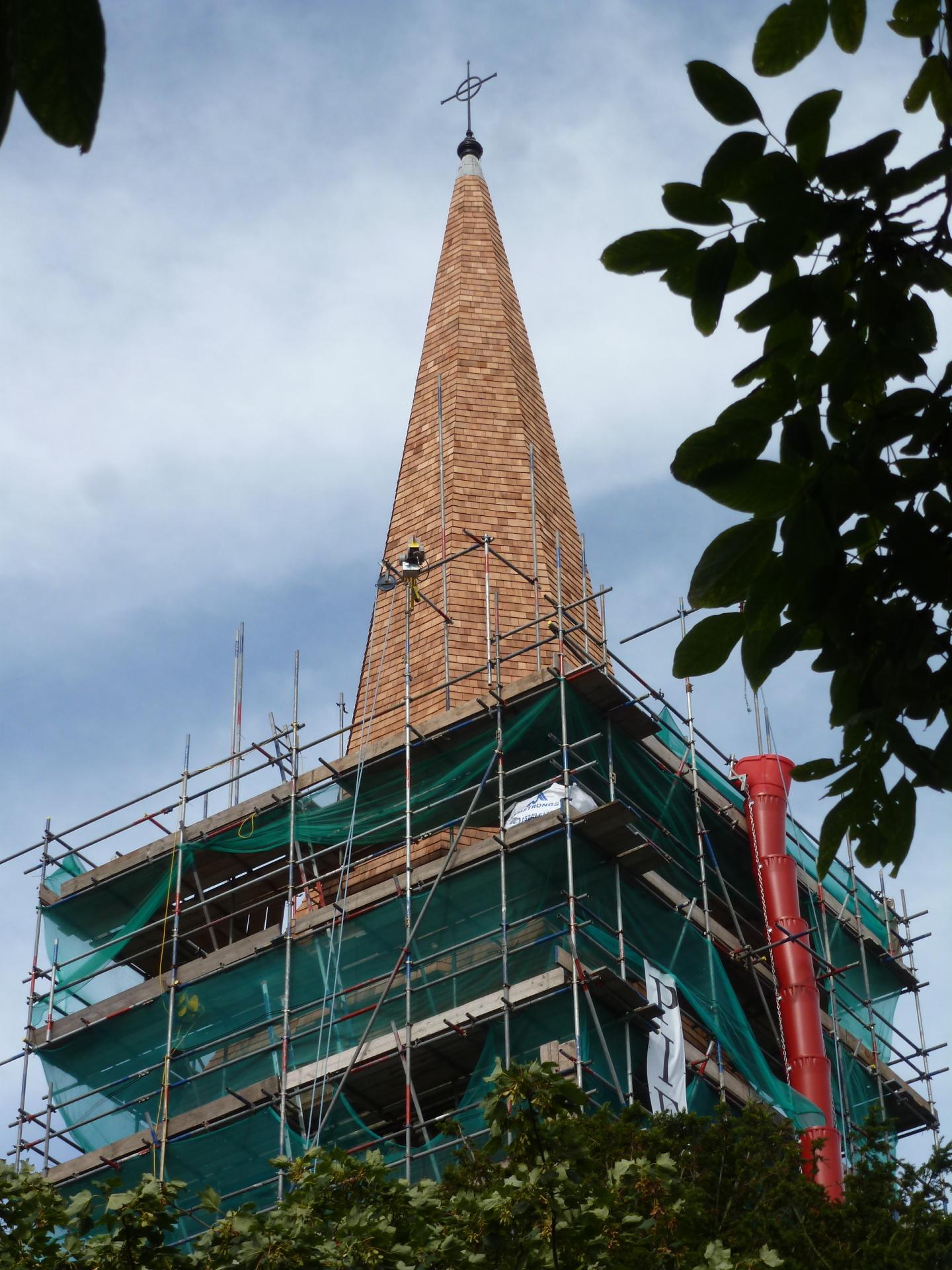 St. Botolph's, Heene, reshingled spire 7.8.16