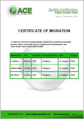 Super Soaker Pads Certificate of Migration