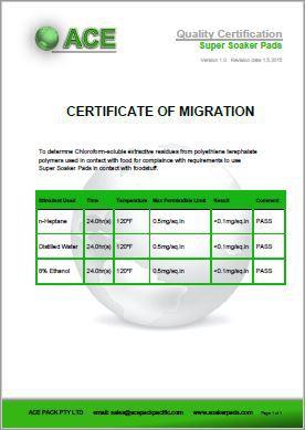 Super Soaker Pads Certificate of Migration