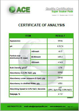Super Soaker Pad Certificate of Analysis
