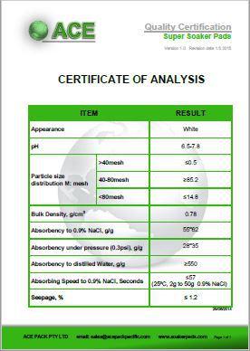 Super Soaker Pad Certificate of Analysis