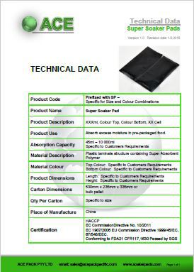 Super Soaker Pad Technical Data