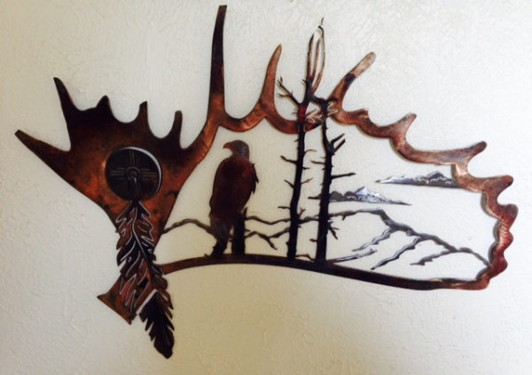 eagle-in-antler METAL ART WATER JET