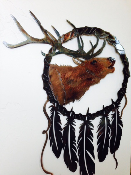 elk-with-feathers METAL ART WATER JET