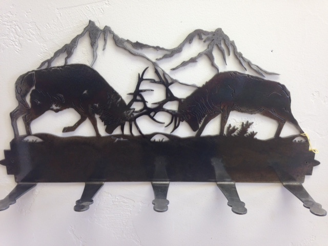 FIGHTING BULLS COAT RACK METAL ART WATER JET