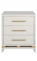 Pearl Matt bedside table with gold handles