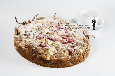 Rustic Pear, Muscat & Raspberry Crumble Cake