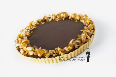 Salted Caramel Chocolate Tart with Macadamia Praline