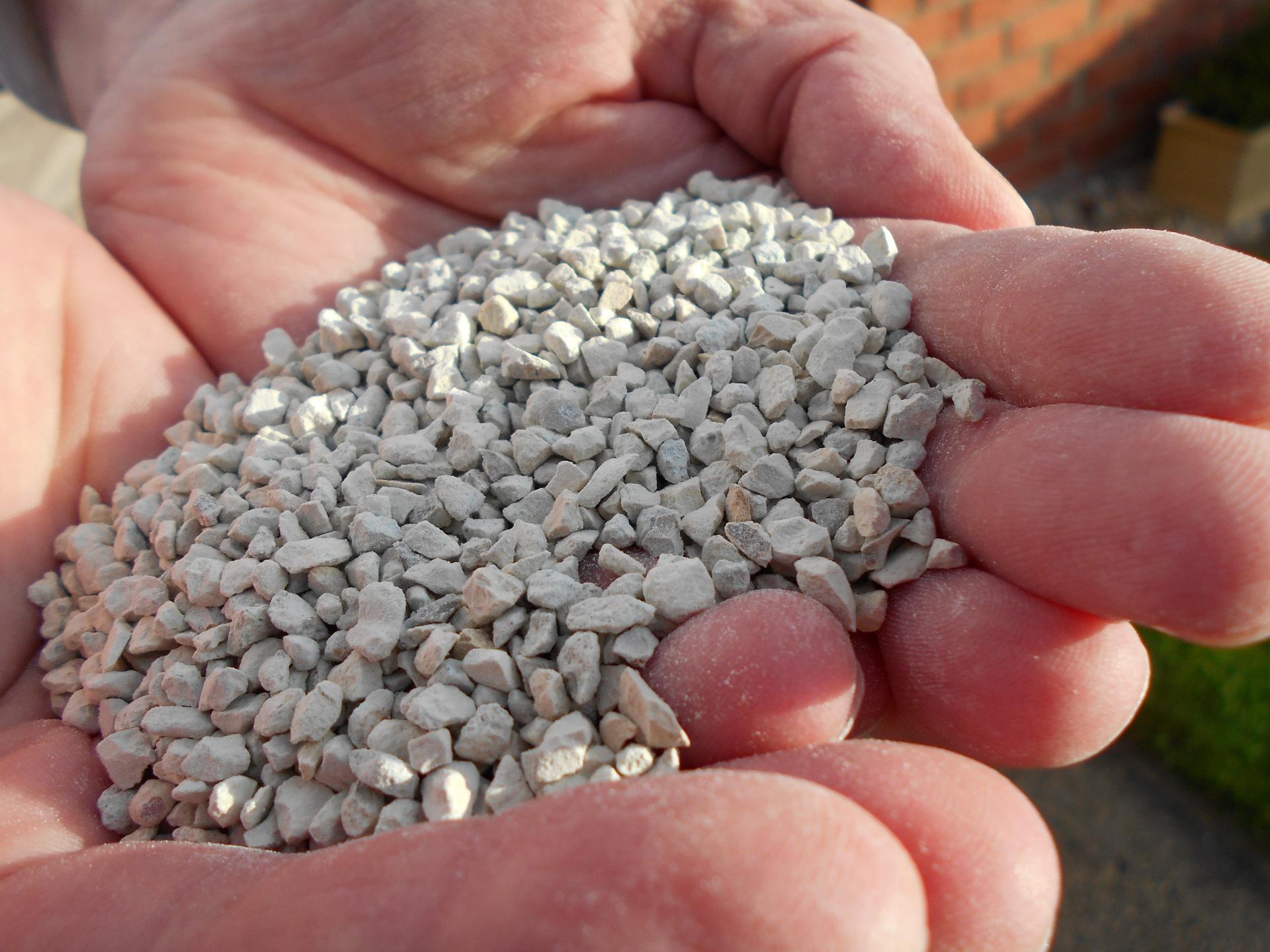 Zeolite granules in hand