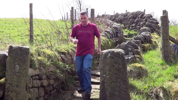 Walking along the Pennine Way near Colden Clough