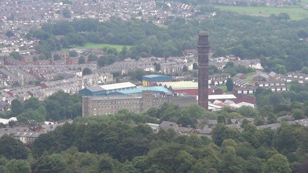 India Mill dominating the view over Darwen