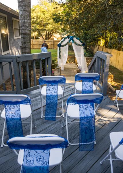 backyard wedding, outdoor wedding, wedding ceremony, over the rainbow weddings.