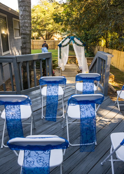 backyard wedding, outdoor wedding, wedding ceremony, over the rainbow weddings.