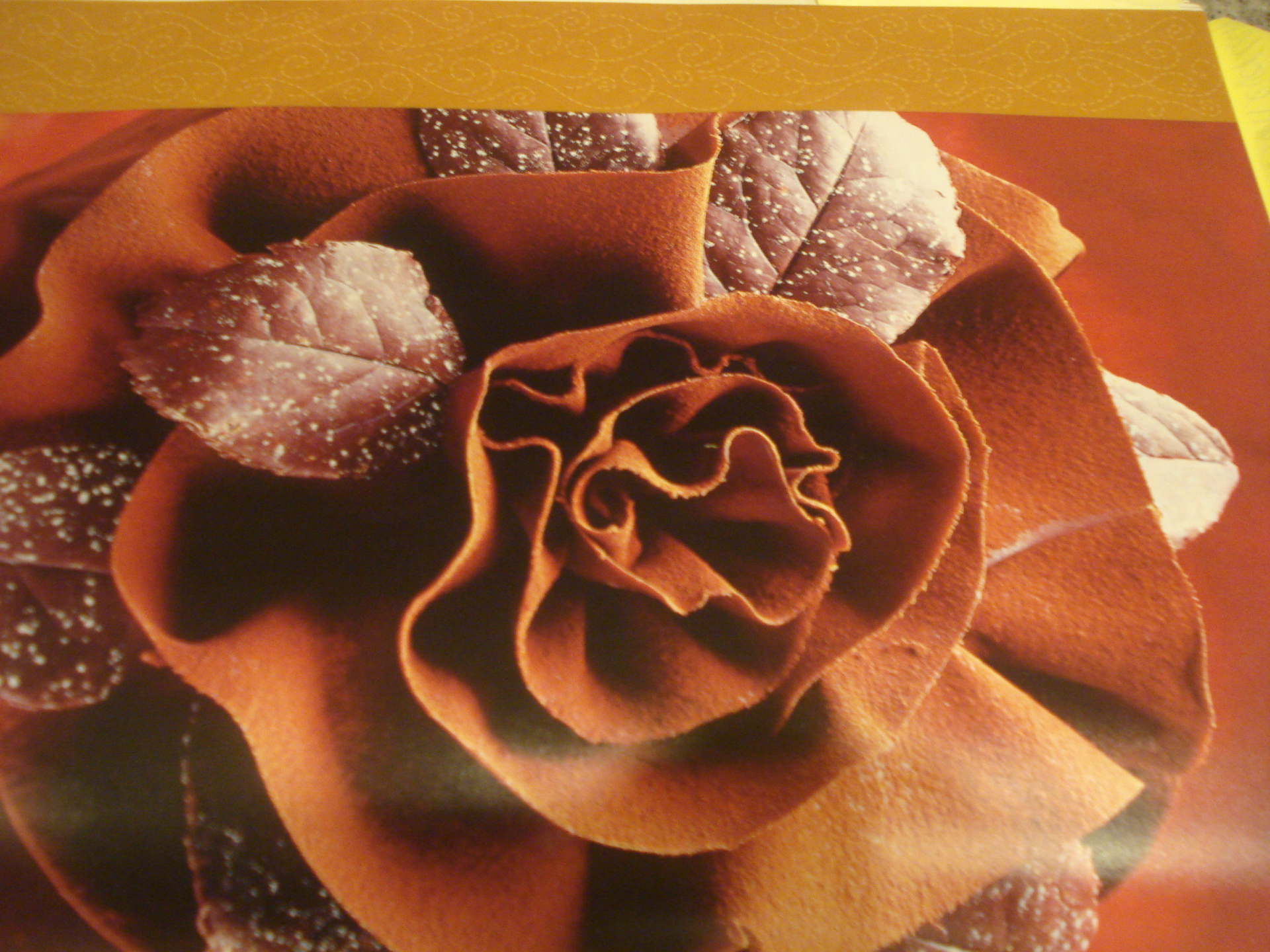 "Chocolate ""Rose"" atop a Chocolate Genoise cake"