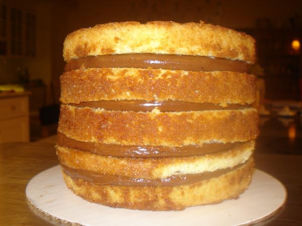 5-Tiered-Warm-Milk-Cake-in-Progress