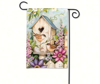 COTTAGE BIRDHOUSE GARDEN FLAG - $11.95
