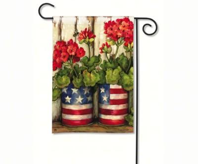 PATRIOTIC GERANIUM GARDEN FLAG - $11.95