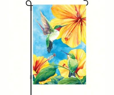 HIBISCUS & HUMMINGBIRD GARDEN FLAG - $11.95