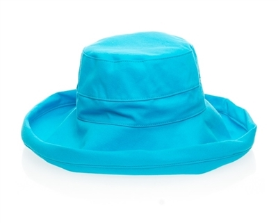 TURQUOISE PACKABLE COTTON HAT - $18.95