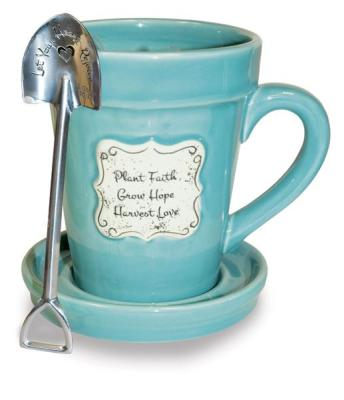 """PLANT FAITH GROW HOPE"" FLOWER POT MUG - $16.95"