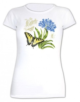 BUTTERFLY & AGAPANTHUS T-SHIRT - $21.95