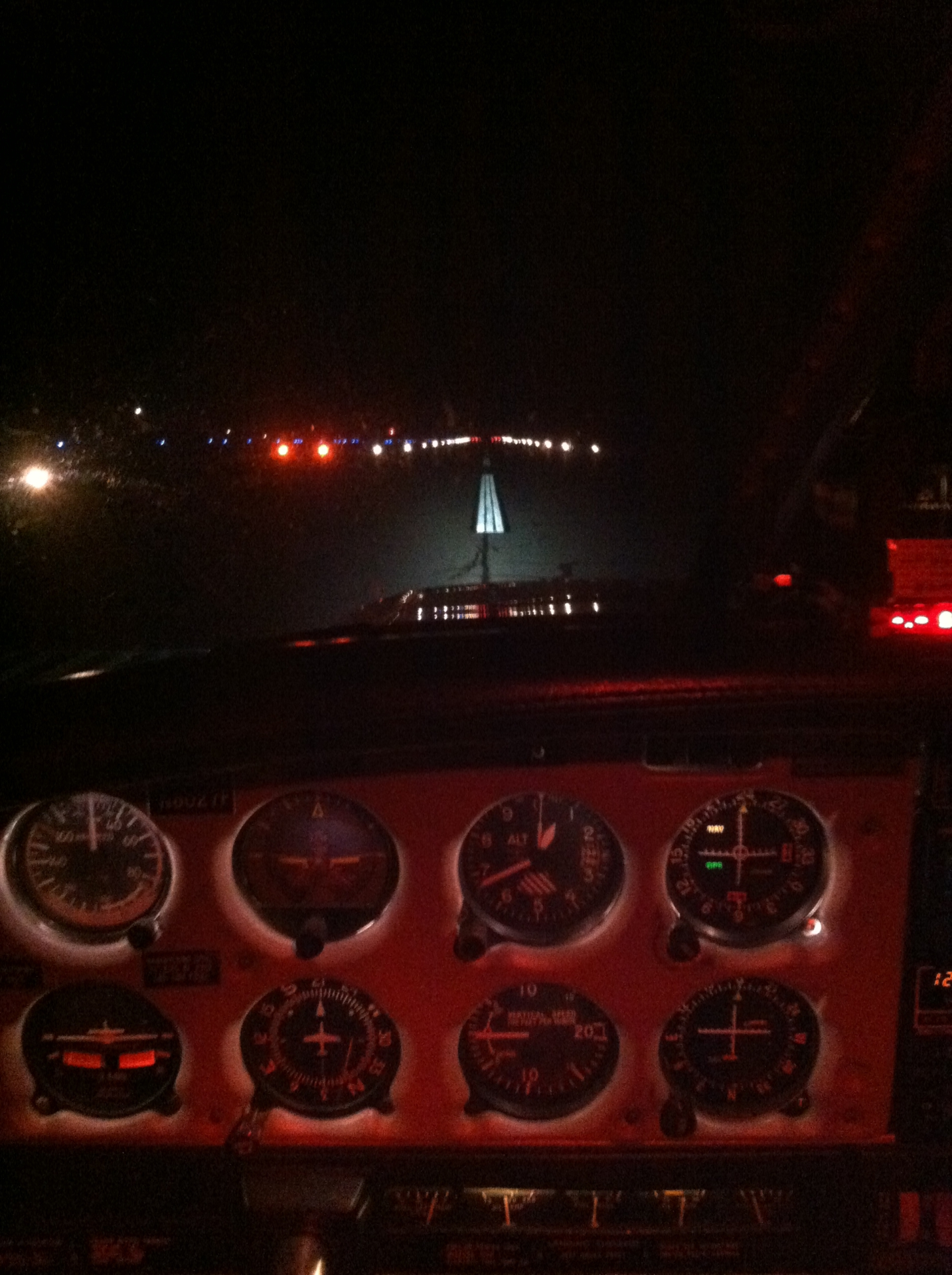 night takeoff southbridge to worcester lights