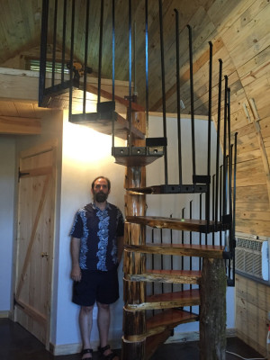 arched cabin spiral staircase