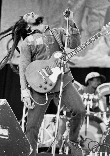 image of bob marley on stage at dalymount park dublin ireland