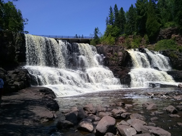 Waterfalls going into Lake Superior