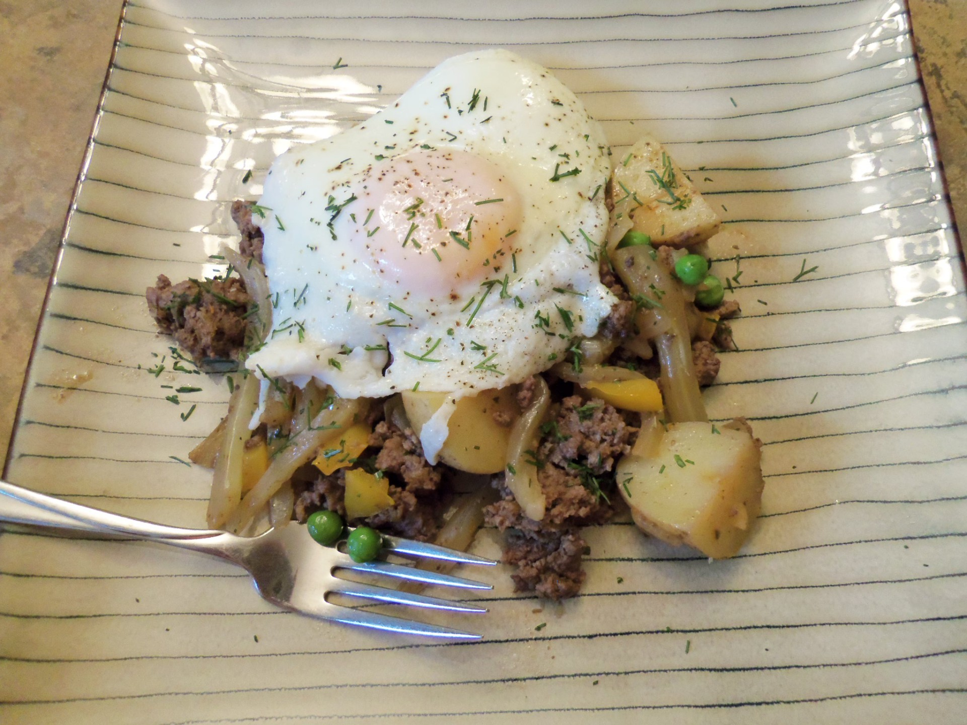 Ground Beef Hash with Eggs