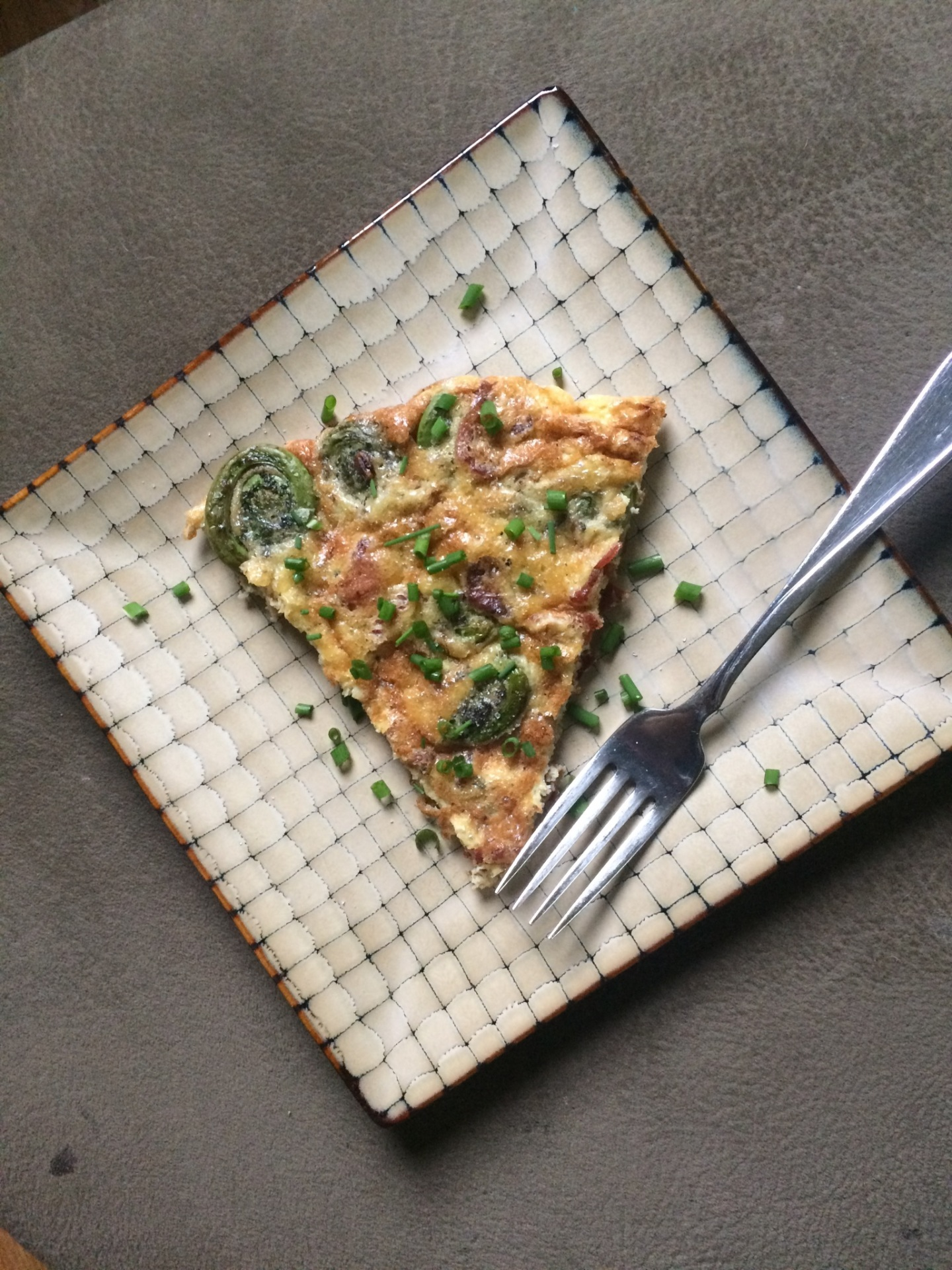 Fiddlehead Fern and Bacon Frittata