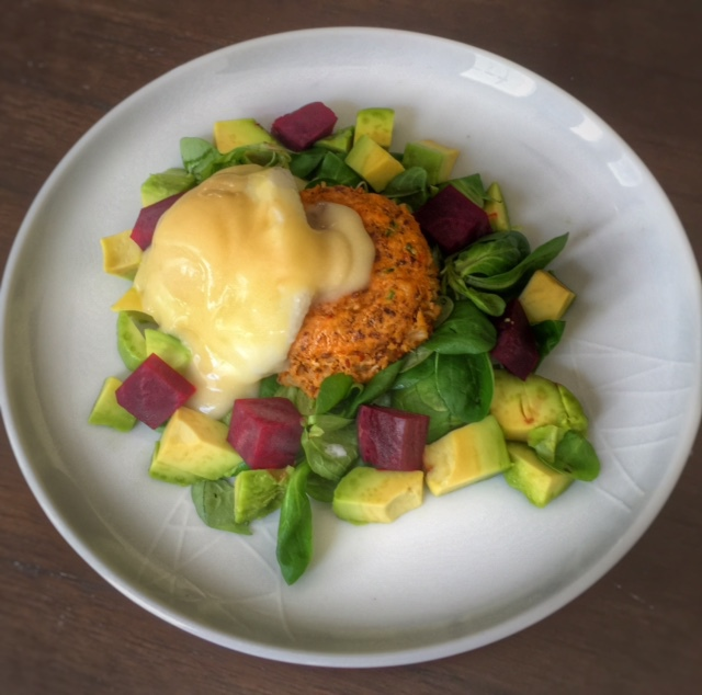 Crab Cakes Eggs Benedict with Watercress, Avocado and Beetroot