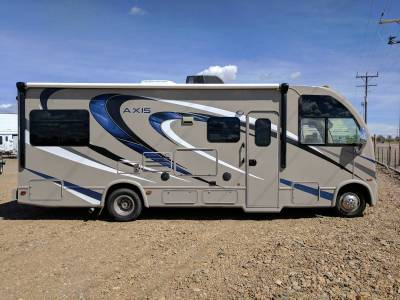 2016 Thor Motor Coach Axis 25.2 With Blue black and white graphics available at Terrys Truck and RV In Mountain Home Idaho