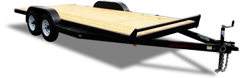 """Mirage Flat Bed Car hauler with douglas fir deck and 18"""" beaver tail at Terrys Truck and RV in Mountain Home, ID"""