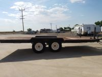 Dual axel flat bed black 16' utility trailer Available at Terrys Truck and RV in Mountain Home Idaho
