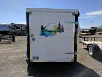 2016 White Mirage Enclosed Trailer with fishing graphics 5'x8' hunting and fishing trailer for only $2995 available at terrys Truck and RV in Mountain Home Idaho